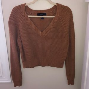 Crop, knitted sweater